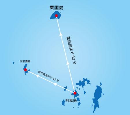 渡名喜島まで45分、粟国島まで80分