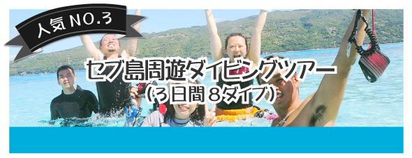 セブ島周遊ダイビングツアー(3日間、8ダイブ)